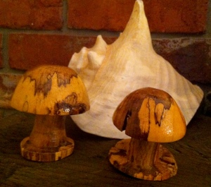 woodturned spalted mushrooms