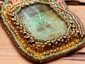 Close up of fern necklace