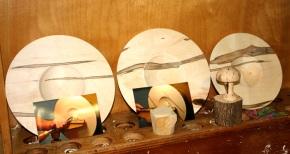 Turning Wood Platters before WoodBeads